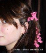 crochet curlicue hair tie